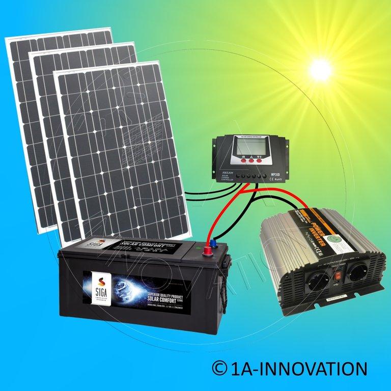 solaranlage komplettpaket 220v akku 280ah 300w solarpanel. Black Bedroom Furniture Sets. Home Design Ideas