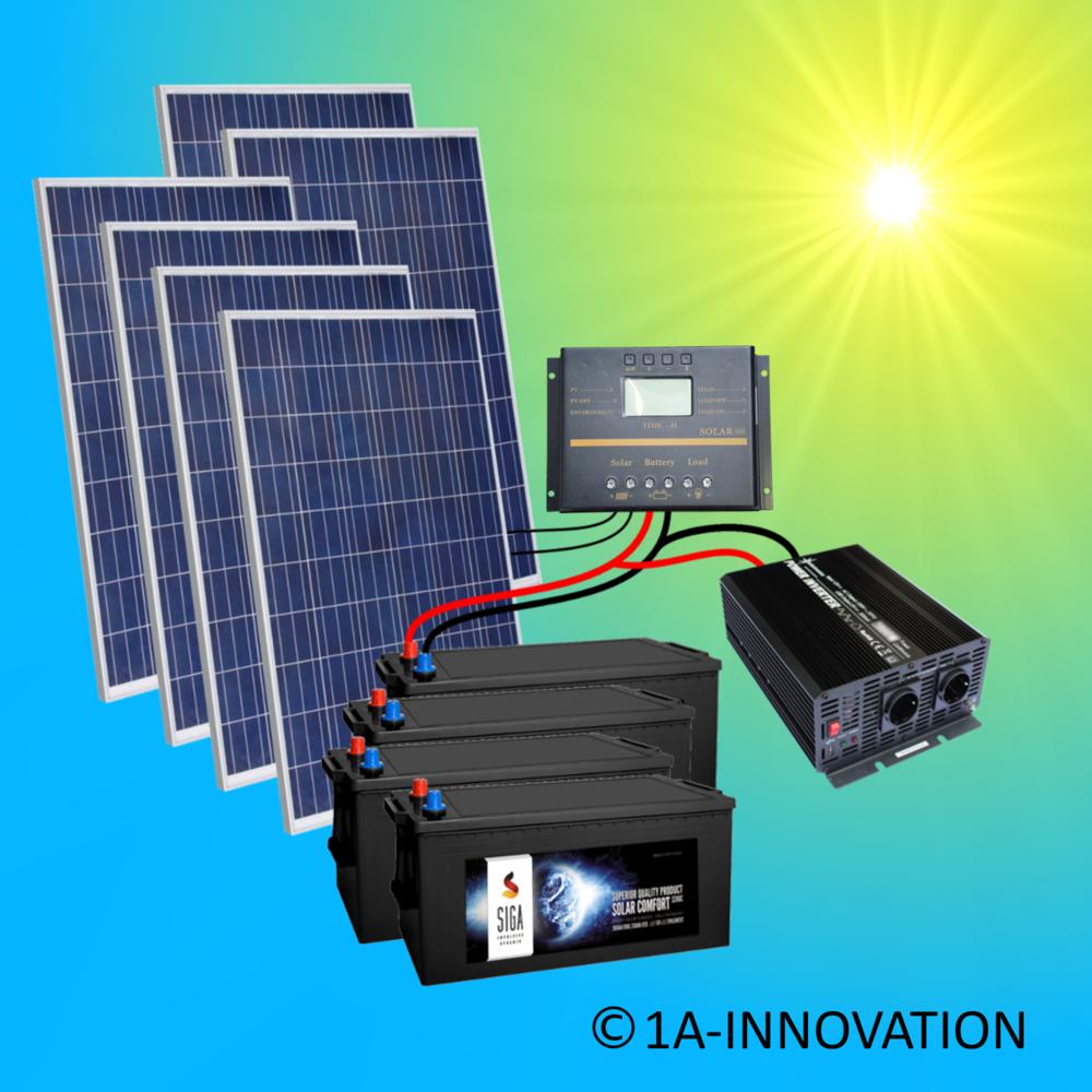 Solar1500 42 Komplettes 220v Solarspeichersystem 1500 Watt Wandler 2000w