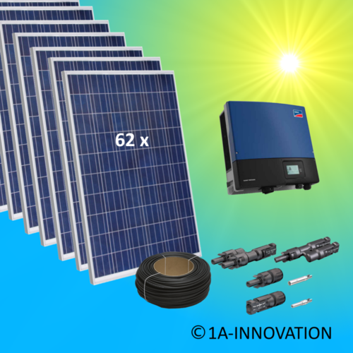 17000W solar system for feeding into network triple-phase