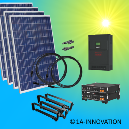 4000W hybrid solar system 4kW incl 2x Storage for connection to your own home network single-phase