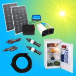 Solar200-1C Complete 220V solar storage system with refrigerator 200 watts