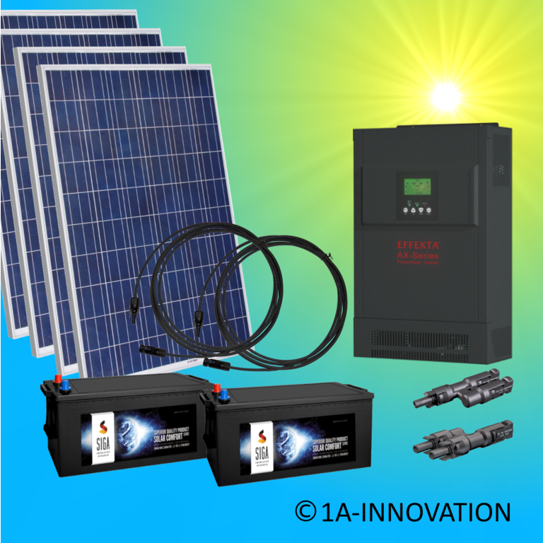 1000W hybrid solar system 1kW incl 2x Storage for connection to your own home network single-phase