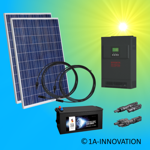 500W hybrid solar system 0,5kW incl 1x Storage for connection to your own home network single-phase