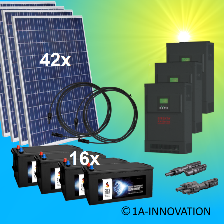 12000W hybrid solar system 12kW incl. 16x Storage for connection to your own home network