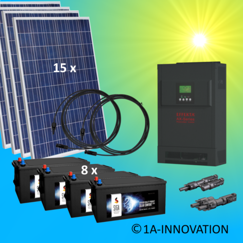 4000W hybrid solar system 4kW incl. 8x Storage for connection to your own home network single-phase
