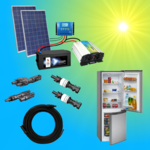 Solar500-11C Complete 220V solar storage system with refrigerator 500 watts 122l